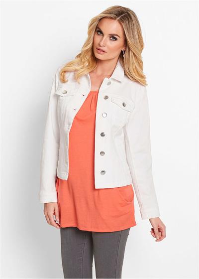 Biała jeansowa kurtka damska