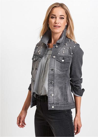 Kurtka jeansowa damska z perełkami czarna