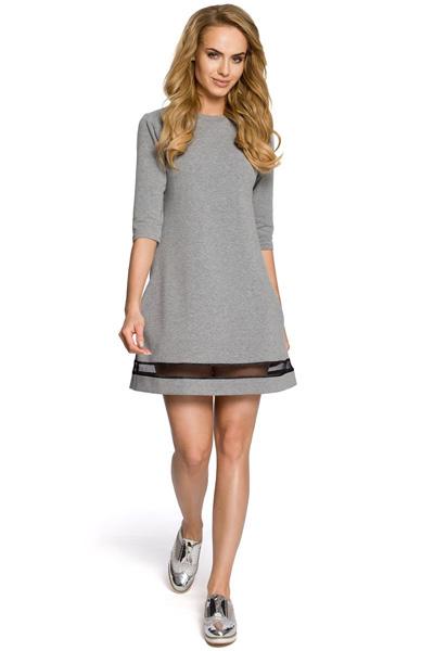 Trapezowa sukienka z tiulową wstawką szara