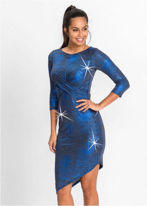 Niebieska sukienka z metalicznym połyskiem