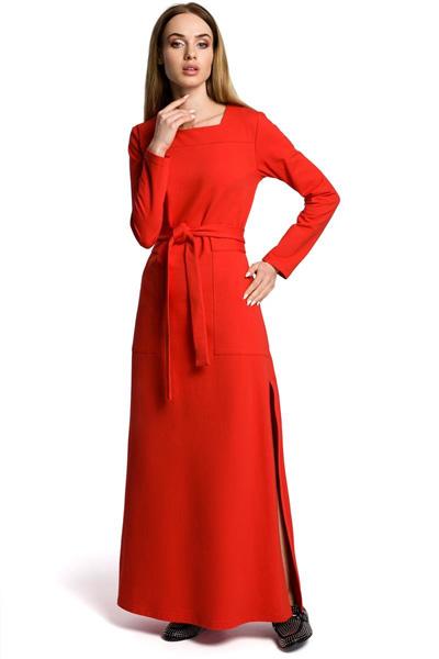 Dzianinowa sukienka maxi z rozcięciem czerwona