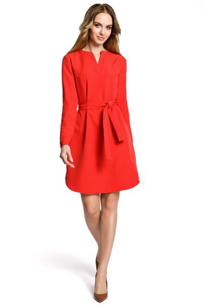 Sukienka koszulowa z paskiem czerwona