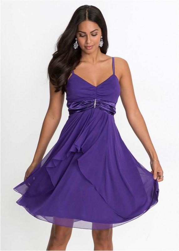 Wieczorowa sukienka na ramiączkach fioletowa
