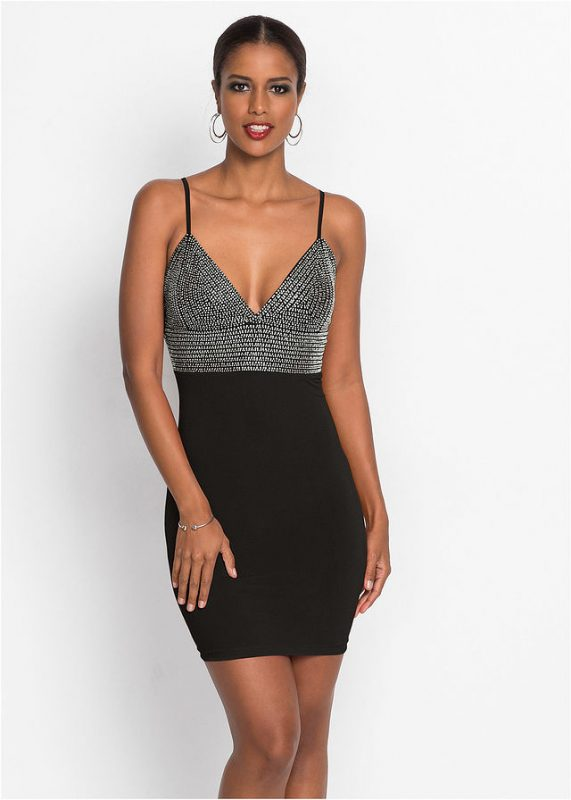 Wieczorowa sukienka na ramiączkach, na imprezę czarna