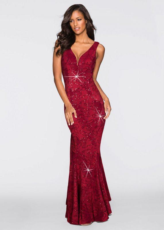 Czerwona długa sukienka wieczorowa z cekinami
