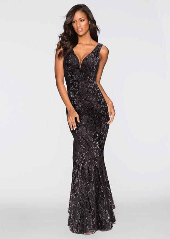 Czarna długa sukienka wieczorowa z cekinami