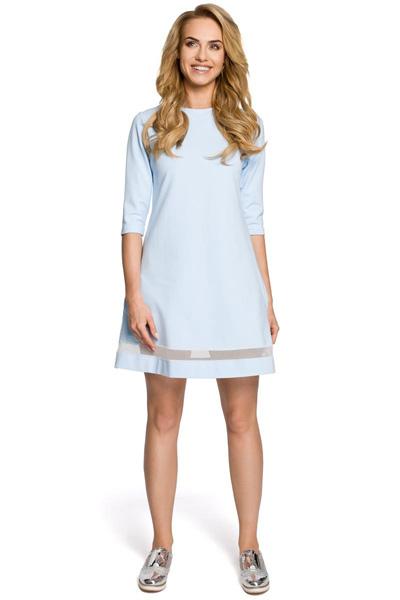 Trapezowa sukienka z tiulową wstawką niebieska