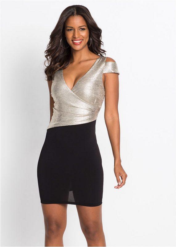 Błyszcząca czarno - złota sukienka na sylwestra
