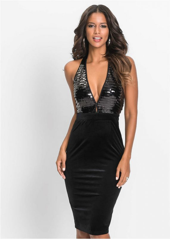 Aksamitna czarna sukienka z cekinami