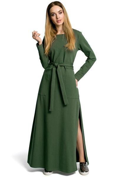 Dzianinowa sukienka maxi z rozcięciem zielona