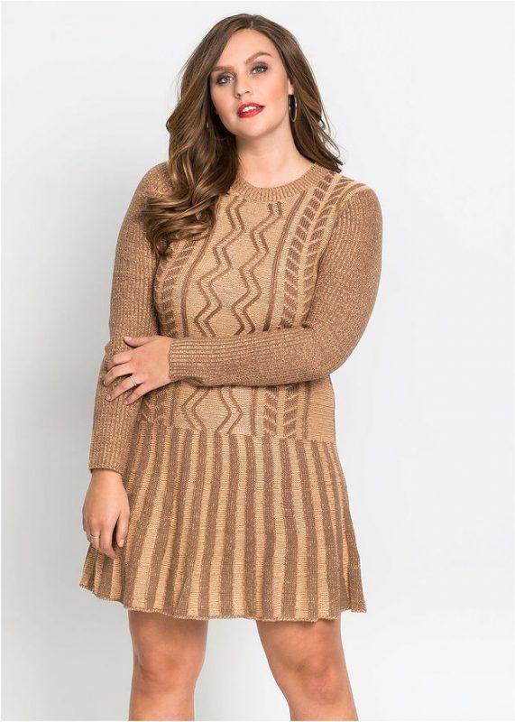 Dzianinowa sukienka sweterkowa plus size brązowa