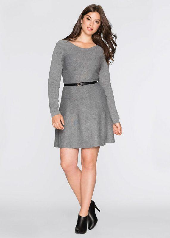 Dzianinowa sukienka rozkloszowana plus size szara