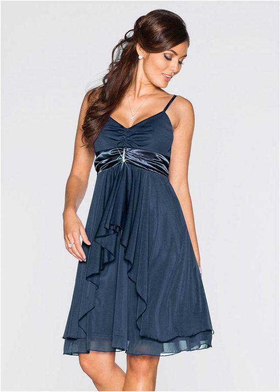 Wieczorowa sukienka na ramiączkach granatowa