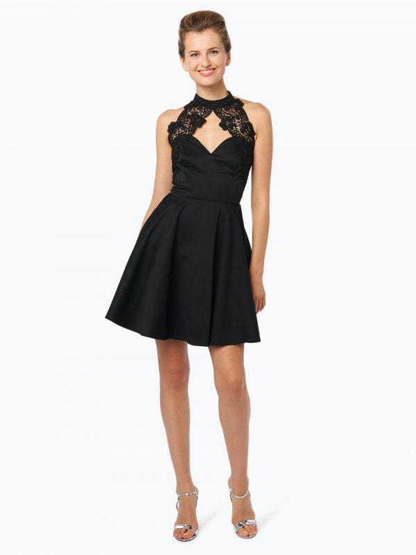 Lipsy czarna sukienka koktajlowa z koronką w dekolcie