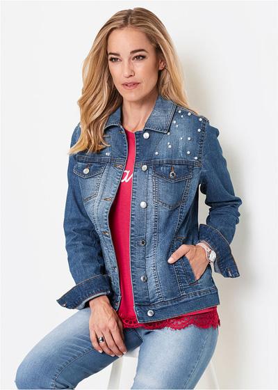 Kurtka jeansowa damska z perełkami niebieska