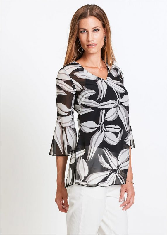 Luźna elegancka tunika czarno - biała