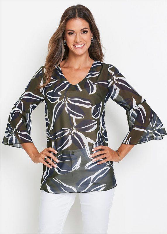 Luźna elegancka tunika oliwkowa