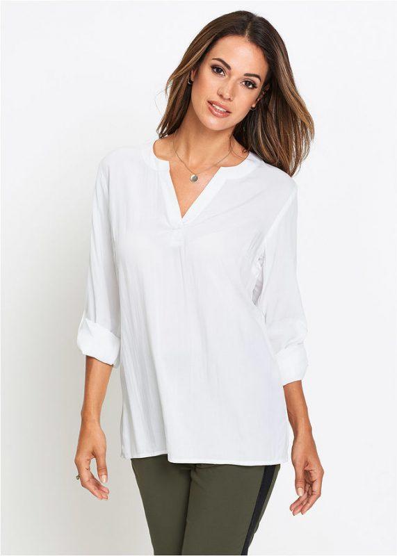 Elegancka tunika z długim rękawem biała