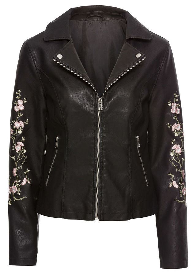 Skórzana kurtka z kwiatowym haftem czarna