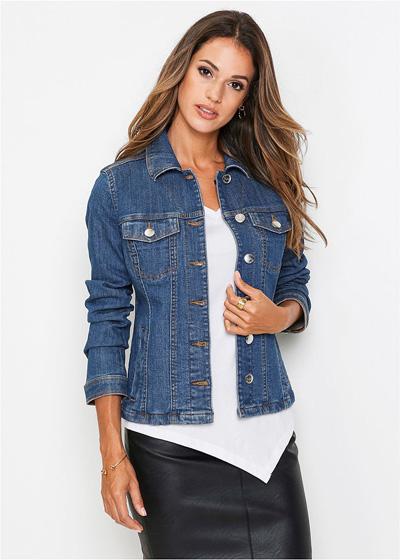 Niebieska jeansowa kurtka damska