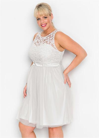 Sukienka wieczorowa plus size z koronką biała