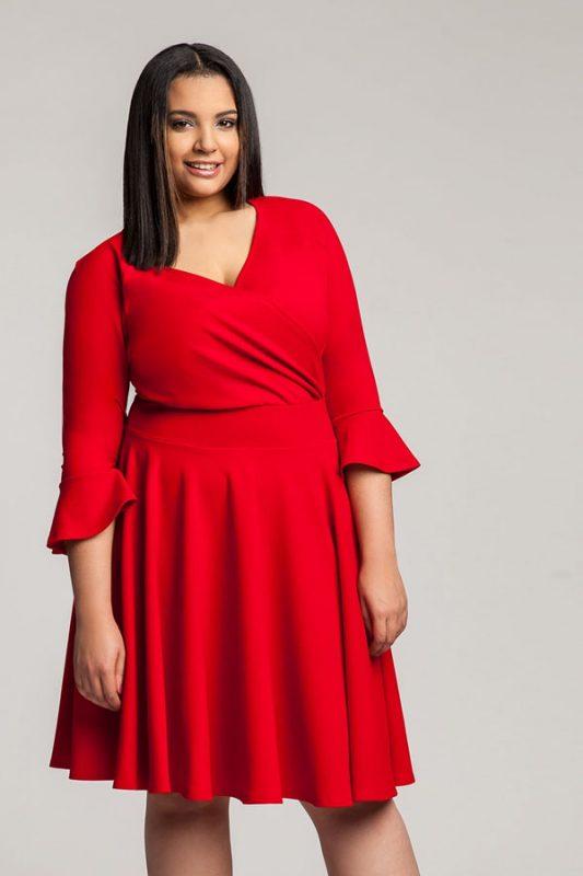 Sukienka wizytowa plus size czerwona