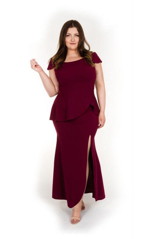 Długa suknia wieczorowa plus size bordowa