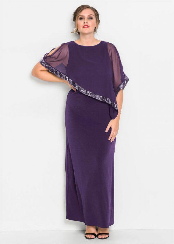 Długa suknia wieczorowa plus size z narzutką fioletowa