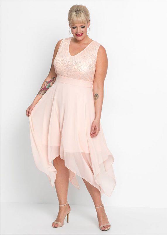 Sukienka z dłuższymi bokami różowa