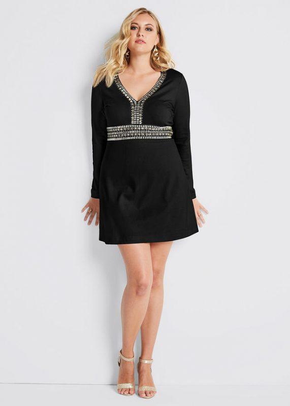 Czarna sukienka z kamieniami, plus size