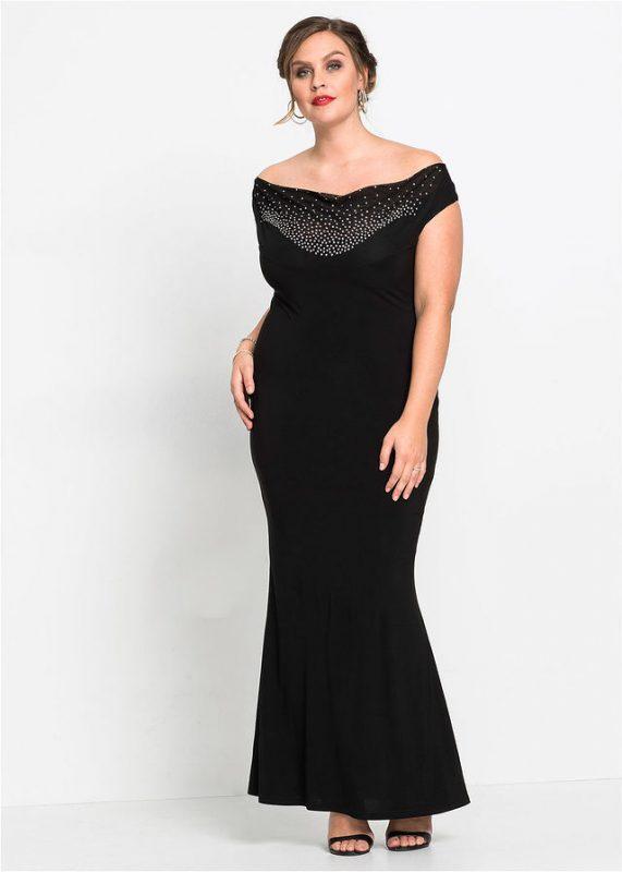 Elegancka długa suknia wieczorowa z odsłoniętymi ramionami