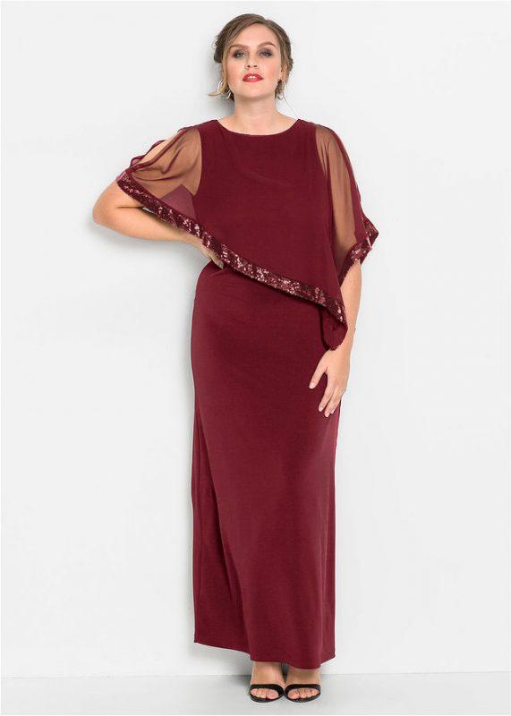 Długa suknia wieczorowa plus size z narzutką bordowa