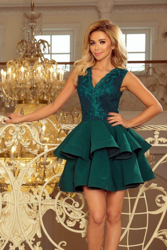 Ekskluzywna sukienka z koronkowym dekoltem zielona