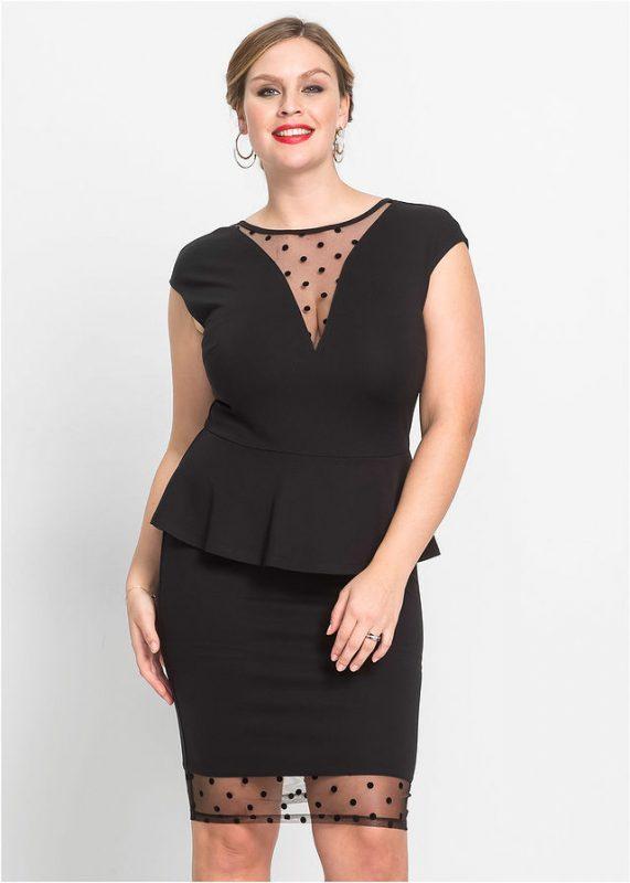 Czarna sukienka z baskinką i siatkową wstawką
