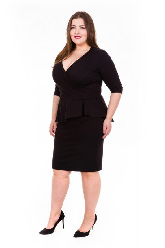 Elegancka czarna sukienka z baskinką