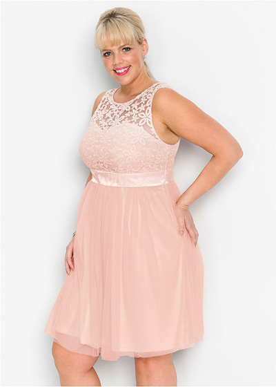 Sukienka wieczorowa plus size z koronką różowa
