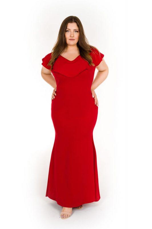 Długa suknia wieczorowa plus size czerwona