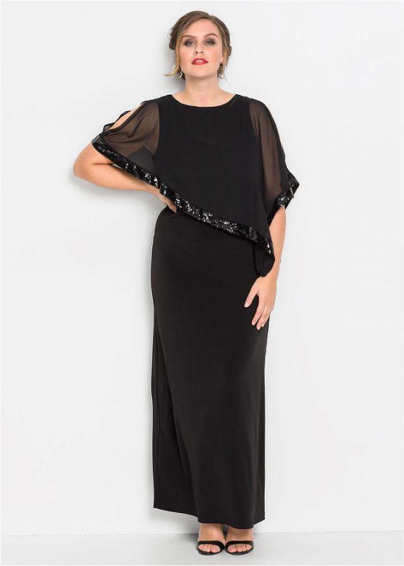 Długa suknia wieczorowa plus size z narzutką czarna