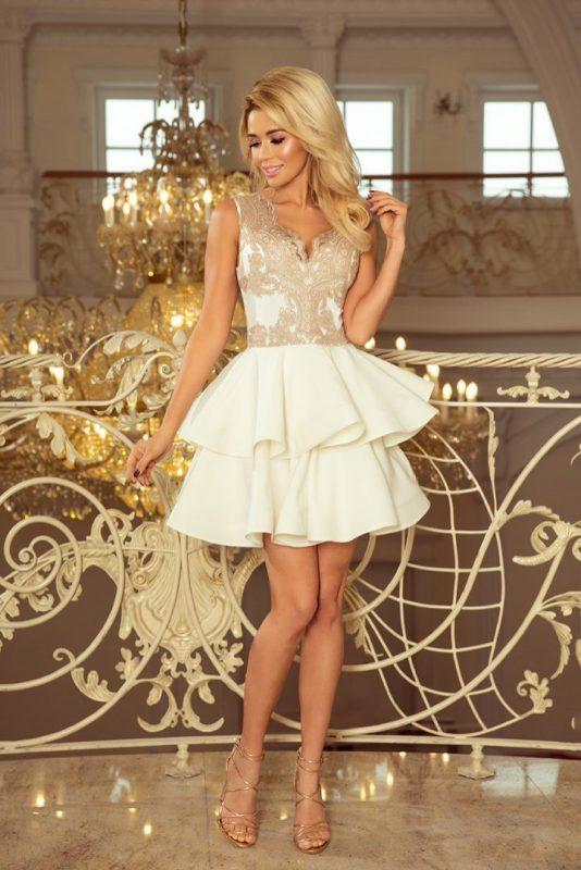 Ekskluzywna sukienka z koronkowym dekoltem biała