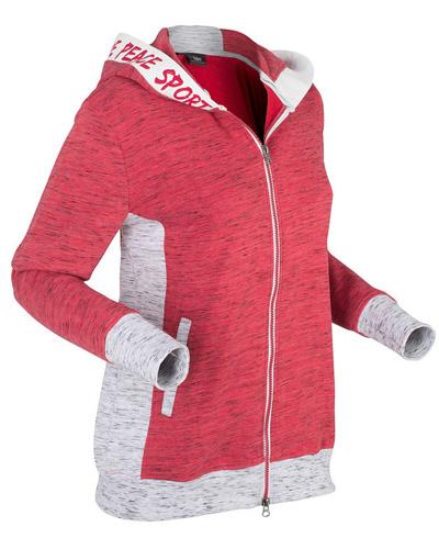Lekka bluza rozpinana z kapturem czerwona