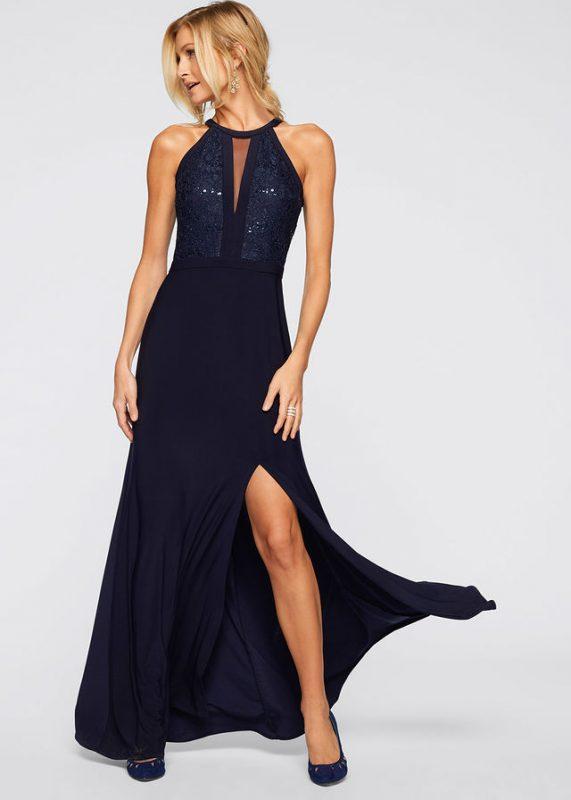 Granatowa sukienka wieczorowa z koronką i cekinami