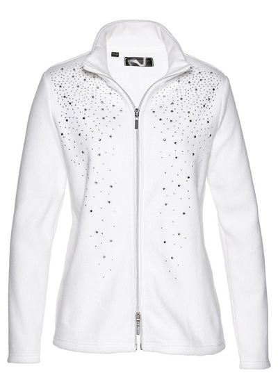 Bluza z polaru z połyskującymi kamieniami biała