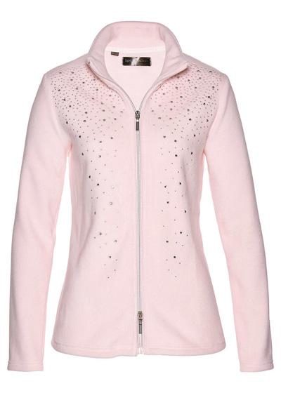 Bluza z polaru z połyskującymi kamieniami różowa