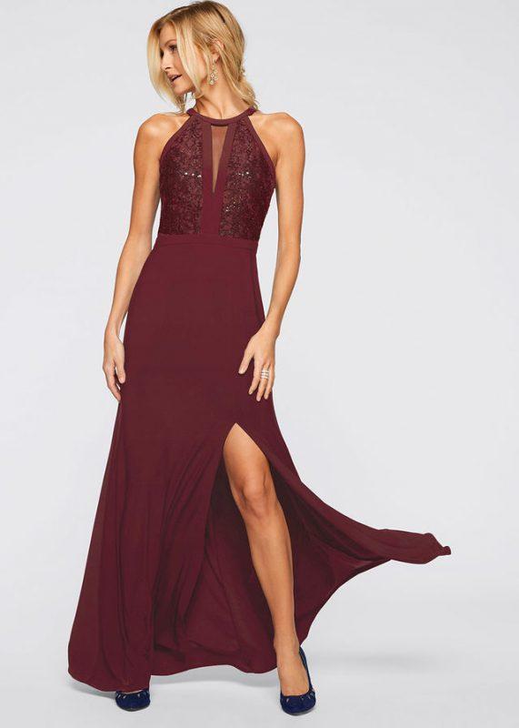 Bordowa sukienka wieczorowa z koronką i cekinami