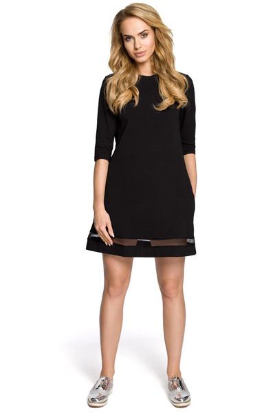 Trapezowa sukienka z tiulową wstawką czarna