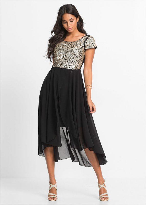 Szyfonowa sukienka z cekinami