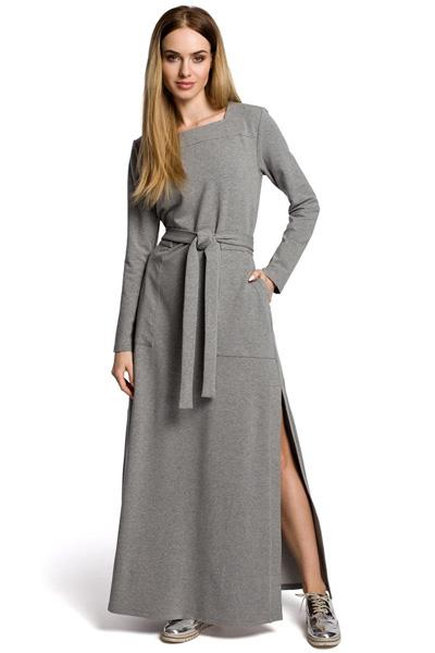 Dzianinowa sukienka maxi z rozcięciem szara