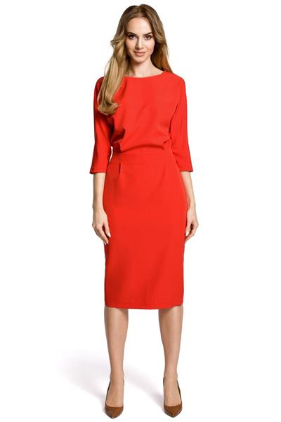 Elegancka sukienka odcinana w pasie czerwona