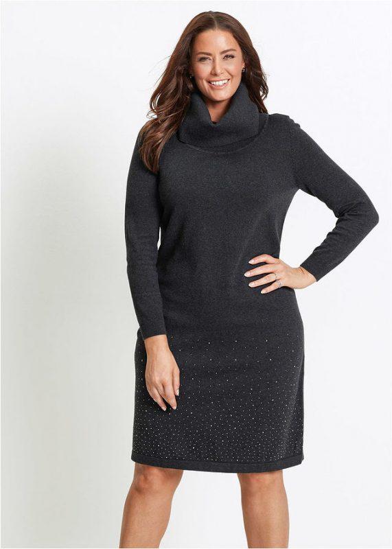 Dzianinowa sukienka sweterkowa plus size czarna