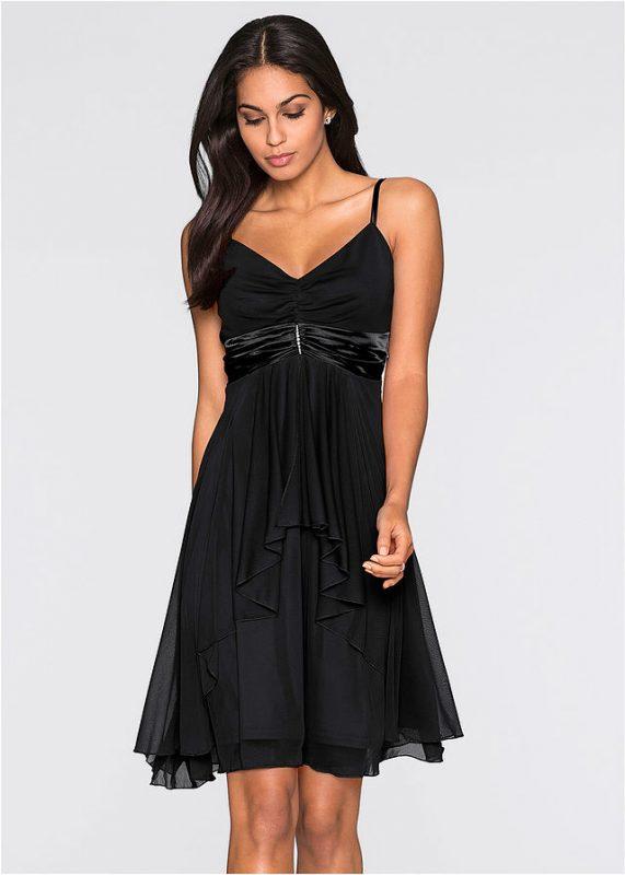Wieczorowa sukienka na ramiączkach czarna